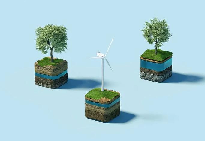 vindmølle og træer